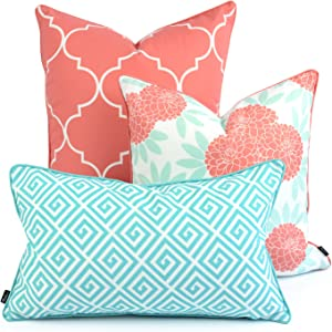 """Hofdeco Spring Indoor Outdoor Pillow Cover ONLY, Water Resistant for Patio Lounge Sofa, Aqua Coral Pink Moroccan Maze Floral, 18""""x18"""" 20""""x20"""" 12""""x20"""", Set of 3"""