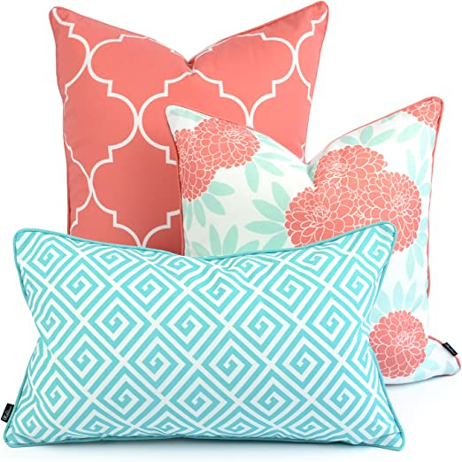 Hofdeco Spring Indoor Outdoor Pillow Cover Only Water Resistant For Patio Lounge Sofa Aqua Coral Pink Moroccan Maze Floral 18 X18 20 X20 12 X20 Set Of 3 Garden Outdoor Amazon Com