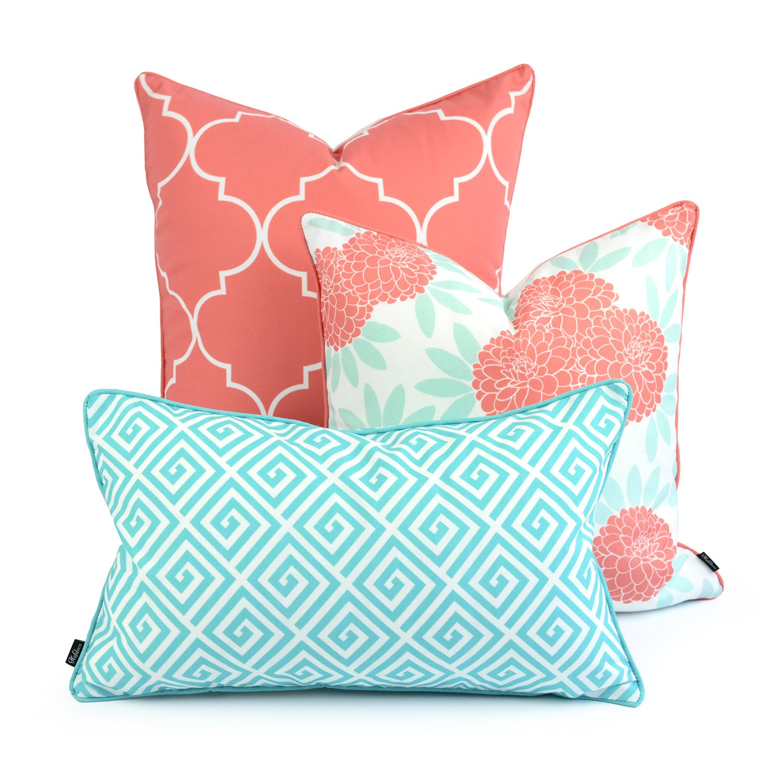 Hofdeco Decorative Throw and Lumbar Pillow Cover INDOOR OUTDOOR WATER RESISTANT Canvas Spring Aqua Coral Pink Quatrefoil Maze Chinoiserie Floral 18''x18'' 20''x20'' 12''x20'' Set of 3