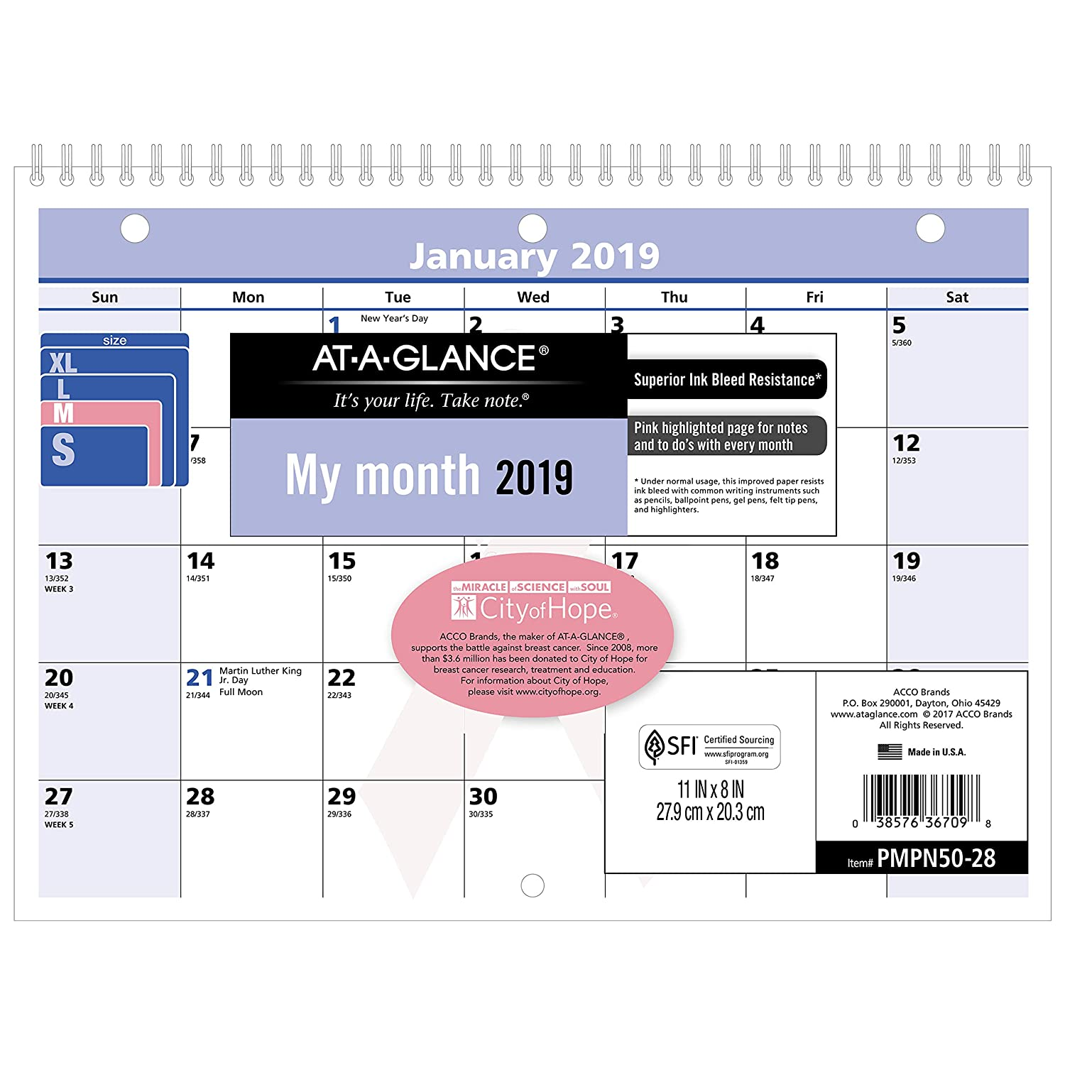 AT-A-GLANCE 2019 Monthly Wall Calendar, QuickNotes, 11