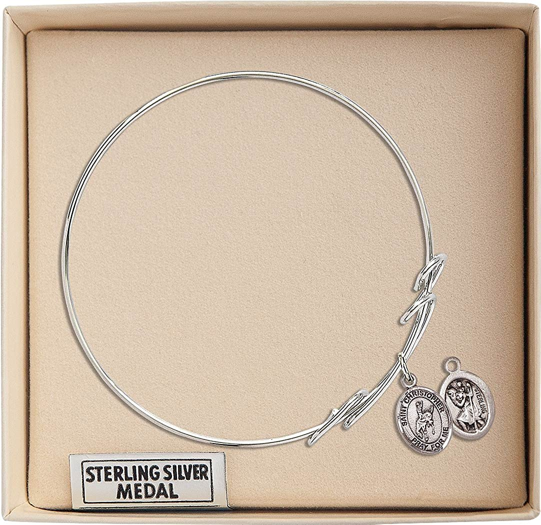 Christopher Rodeo Charm On A 7 1//2 Inch Round Double Loop Bangle Bracelet St