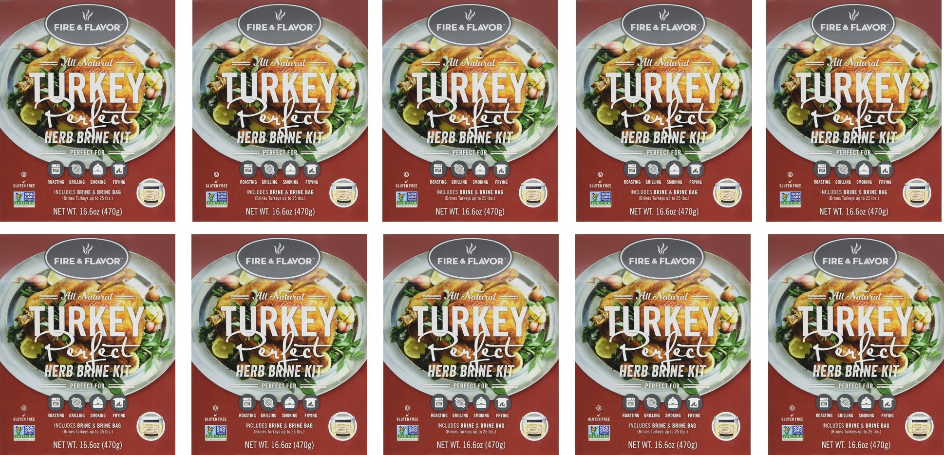 Fire & Flavor Turkey Perfect Herb Brining Kit - 10 Kit Super Value Pack! -16.6oz x 10 Kits - Each Kit Includes Brining Mix, Brining Bag, Recipes, and Instructions!
