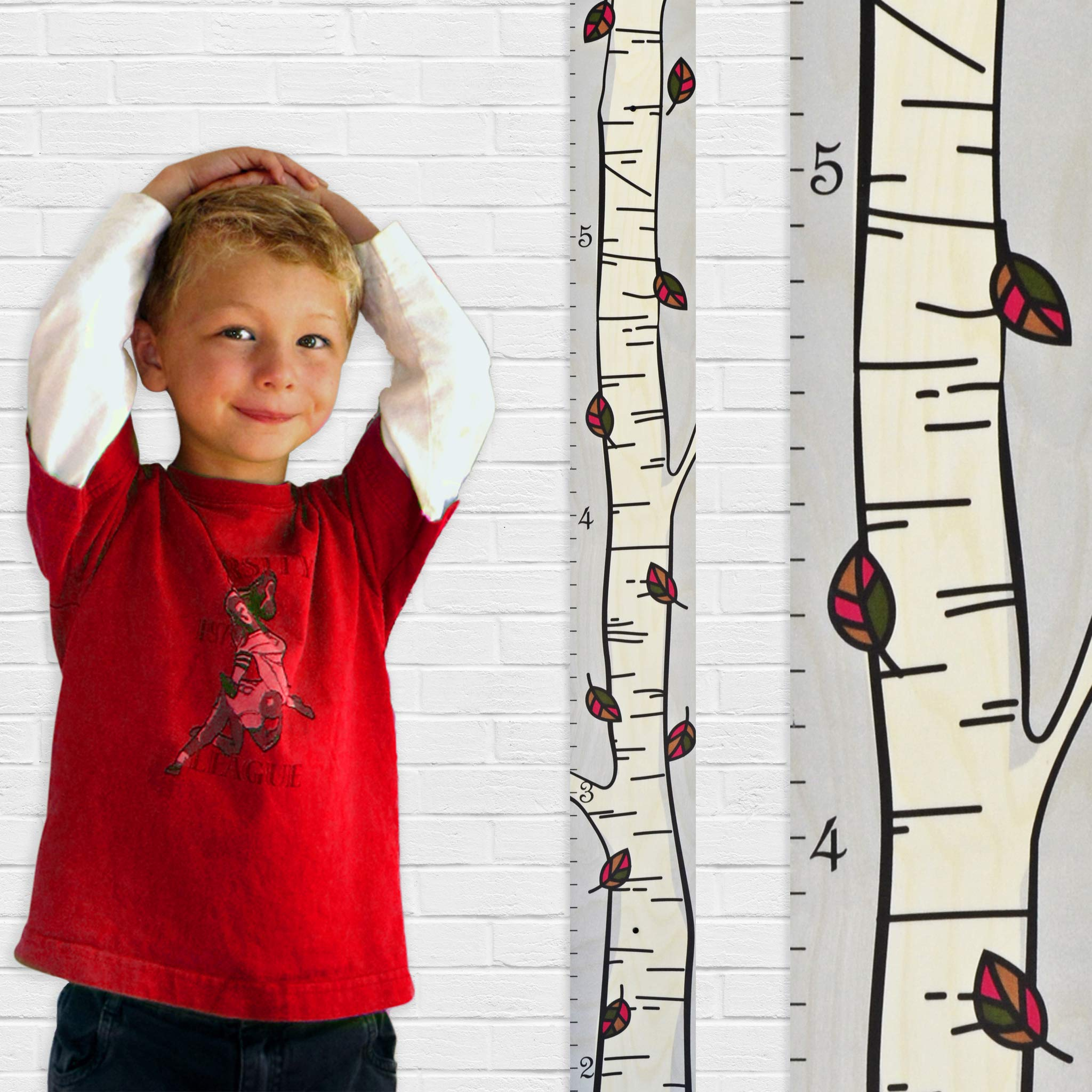 Growth Chart Art | Wooden Birch Tree Growth Chart for Kids [Boys AND Girls] | Growth Chart Ruler Kids Height Chart | Measuring Kids Height Wall Decor for Kids | Fall Leaf Single
