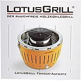 LotusGrill Torre de fondue para humo bajo Parrilla carbón incl. Bandeja del grill, 4 St. Pinzas Herramienta eliminación de, Recetas - a la acogedor y atmosférica Preparar Carne Verduras