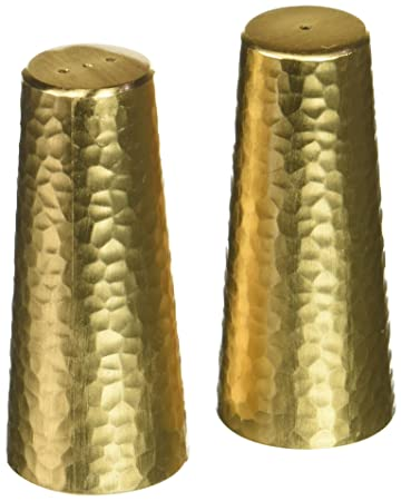 Matte Gold Two Tone NC610G salt-and-pepper-mills, 3.2 Tall, Matte Gold Two Tone