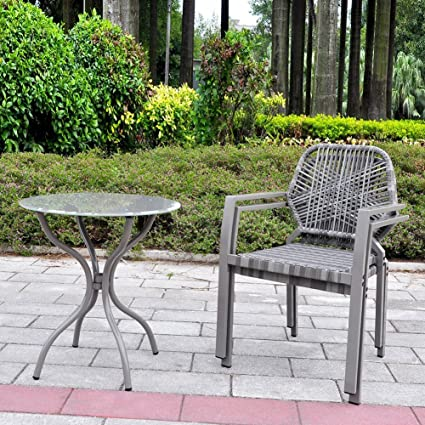 art to real 3 pcs all weather outdoor bistro set resin wicker outdoor patio - Bistro Patio Set