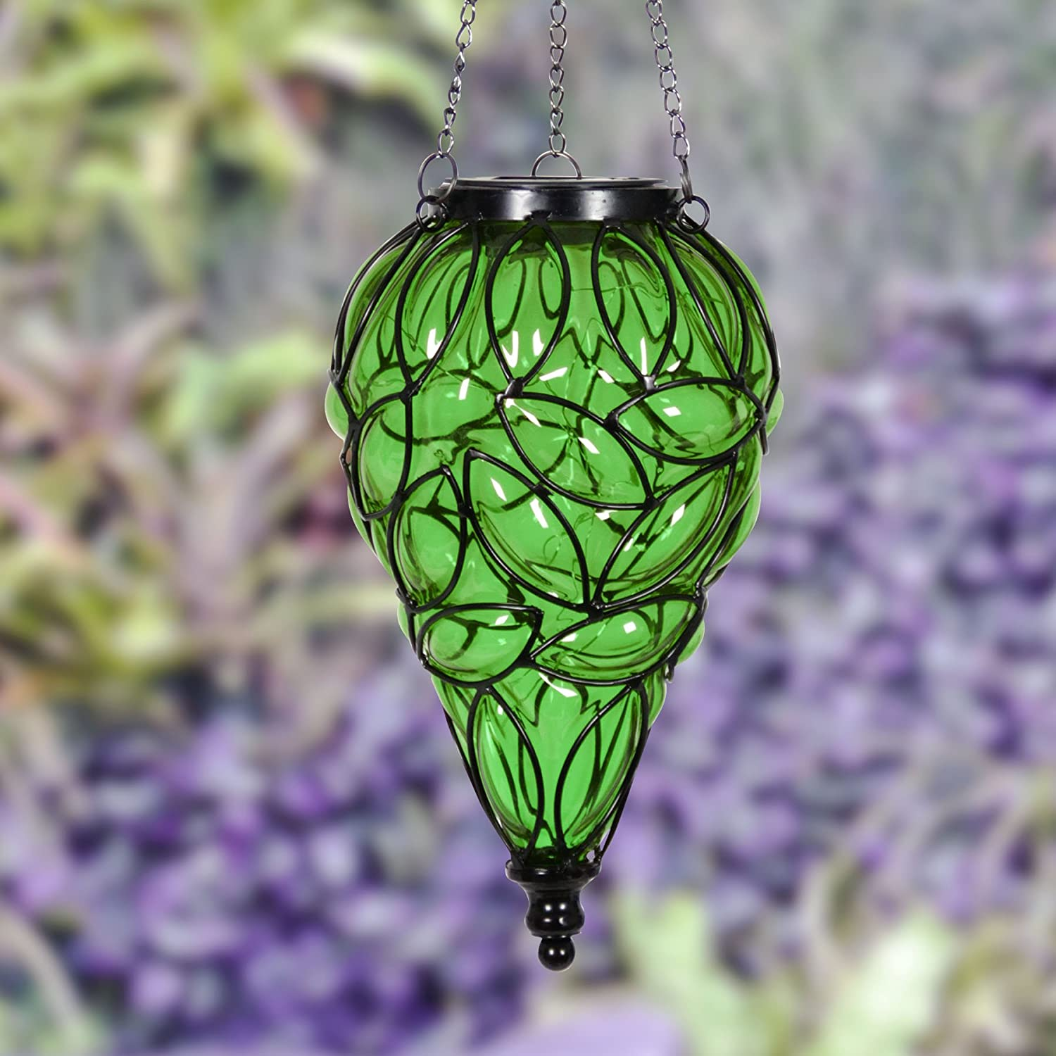 Glass Tear-Shaped Hanging Lantern Exhart Amber Solar Lantern Teardrop Glass Ceiling Lantern Hangs in a Metal Cage w// 12 Blue LED Firefly Solar Lights 7 L x 7 W x 24 H