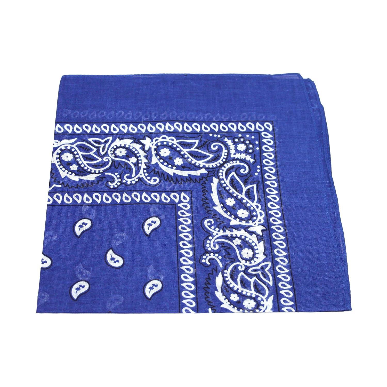 [UK SELLER] Men's/Women's Bandana Head Scarf Neck Scarves Paisley 100% COTTON (Royal Blue Men's Bandana Head Scarf)