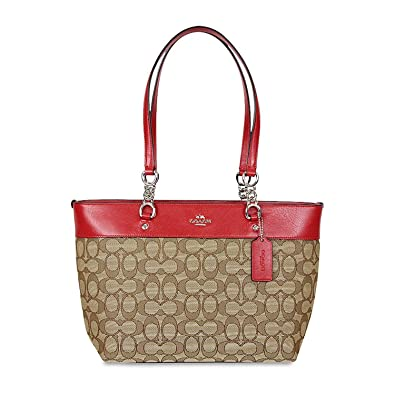 79e0e0fdc8 Amazon.com  Coach Sophia Khaki Red Signature Fabric Leather Small Tote Bag  37118  Shoes