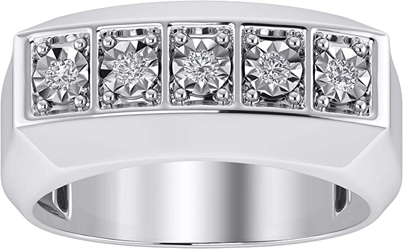 Trillion Jewels Mens Engagement Ring 0.22 CT Round Cut Diamond in 14K White Gold Fn