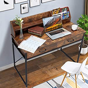 YOLENY Writing Computer Desk with 2 Drawers and Hutch Shelf, Metal and Wood Home Office Desk, Spacious Desktop Vintage Style,Rustic Brown