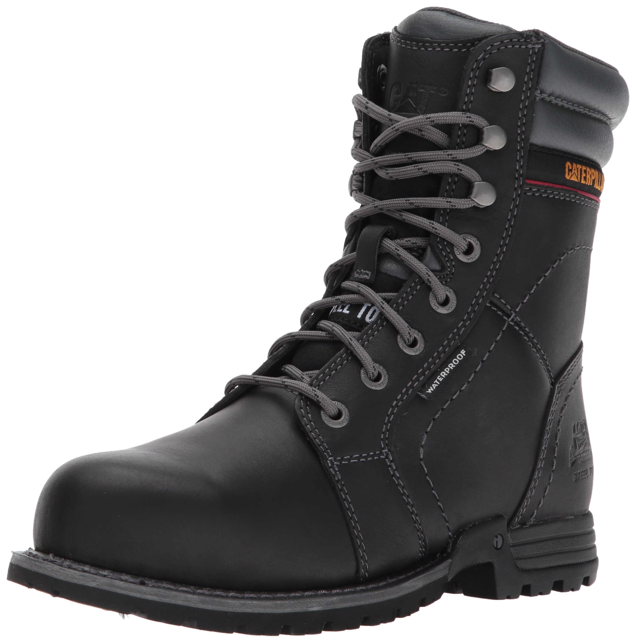 Caterpillar Women's Echo Waterproof Steel Toe Industrial and Construction Shoe, Black, 7.5 M US