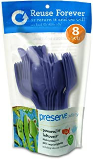 product image for Preserve On the Go Cutlery Set: 8 Forks, 8 Knives, 8 Spoons Kitchen Supplies, 24 Piece, Midnight Blue