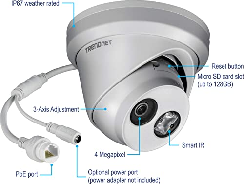 TRENDnet Indoor Outdoor 4MP H.265 Wdr PoE IR Fixed Turret Network Camera, IP67 Weather Rated Housing, IR Night Vision Up to 30m 98 ft. , 120dB Wide Dynamic Range, TV-IP323PI