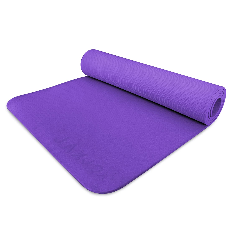 JAXJOX Unisex Antideslizante TPE Yoga Mat-5 mm, Color Morado ...