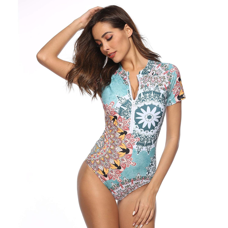 Caracilia Women Rashguard Long Sleeve Zip UV Protection Print Surfing Swimsuit Swimwear Bathing Suits CA--101