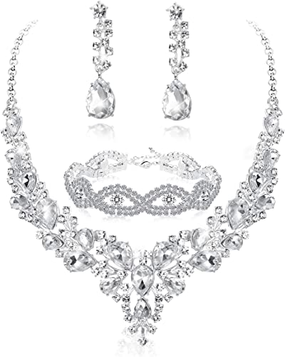 Amazon Com Fiasaso 3pcs Crystal Bridal Jewelry Set For Women