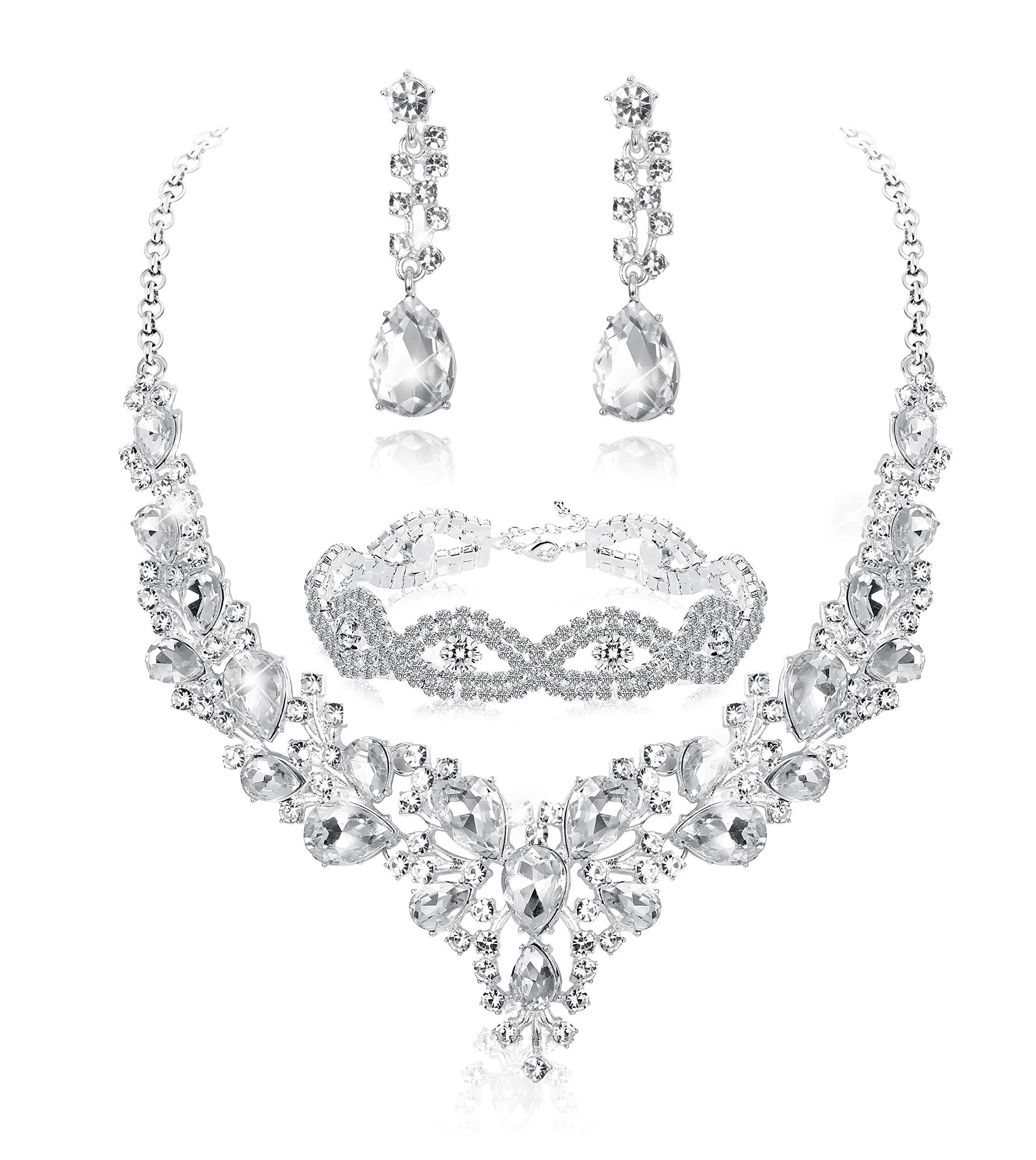 Fiasaso 3 PCS Crystal Bridal Jewelry Set for Women Rhinestone Necklace Earrings Bracelet Wedding Bridesmaid by Fiasaso