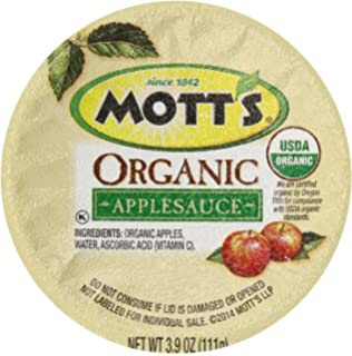 Motts Organic No Sugar Added Apple Sauce, 3.9 Ounce, 36 Count