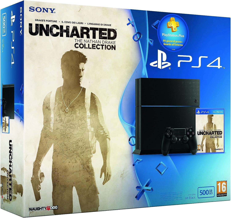 Playstation 4, C Chassis, 500 GB + Uncharted Collection + Plus Card 3 Mesi [ Bundle] [Importación Italiana]: Amazon.es: Videojuegos