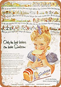 Treasun Metal Sign - Vintage Look 1954 Sunbeam Bread 8 x 12 Inches