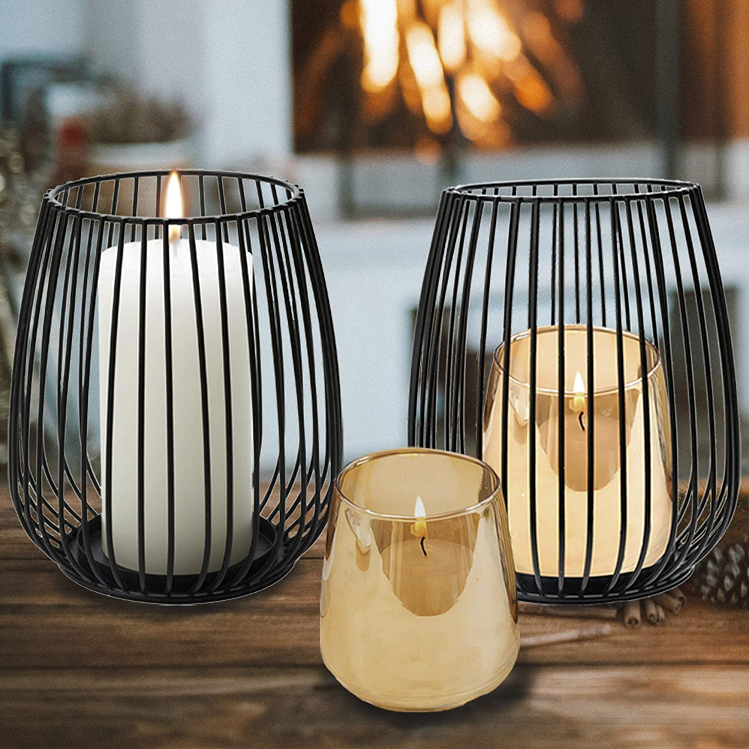 Amazon Com Black Metal Wire Pillar Candle Holders With Gold Glass Votive Candleholders Set Of 2 For Table Centerpiece And Room Decor Kitchen Dining