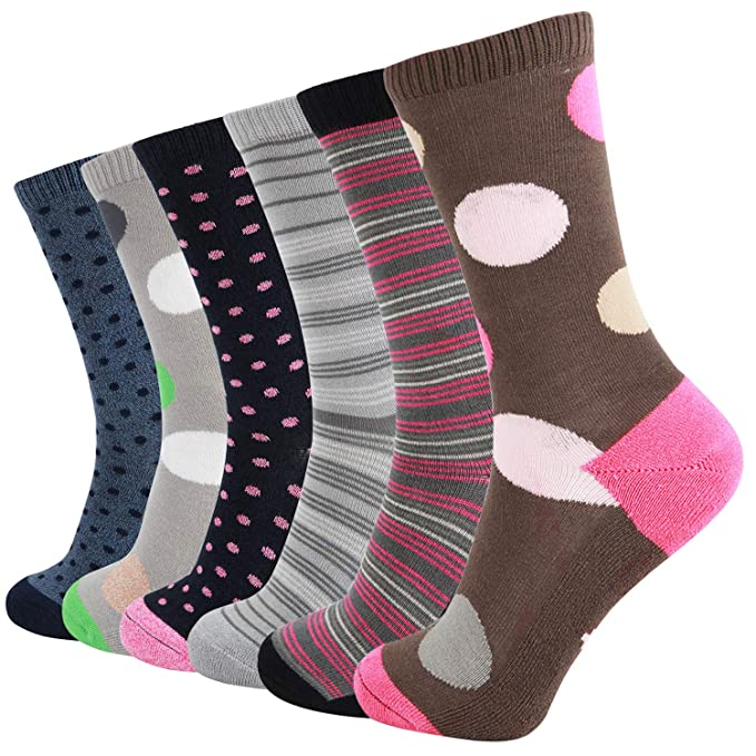 +MD 6 Pack Womens Fun Novelty Crew Socks Ultra Soft Bamboo Casual Socks Colorful Striped Argyle Patterned Casual Socks