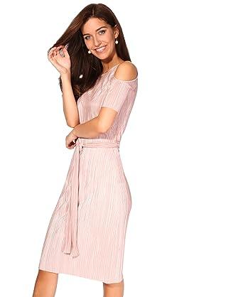 200d975e09e0 KRISP 2711-COR-12 Cold Shoulder Belted Plissé Dress: Amazon.com.au ...