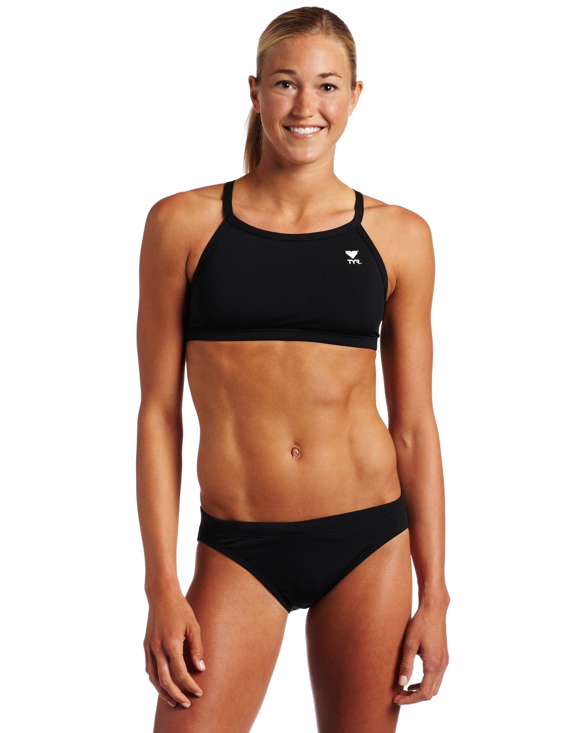 TYR Women's Solid Durafast Diamondback Workout Bikini,Black,Small