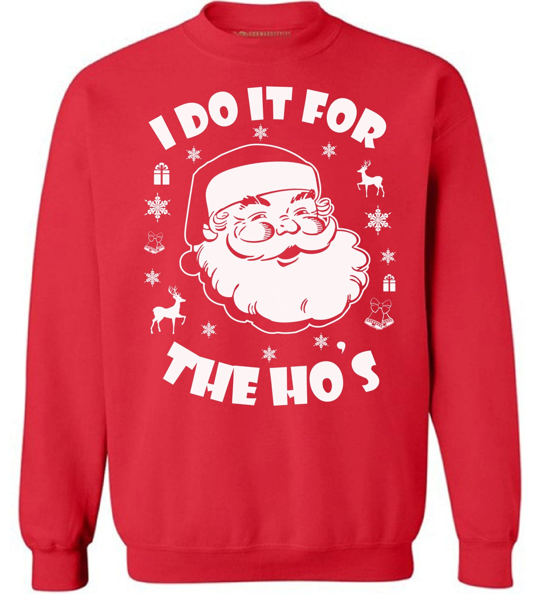 Awkward Styles I Do It for The Hos Sweatshirt Ugly Christmas Sweatshirt Funny Santa Sweater Red 4XL by Awkward Styles (Image #1)