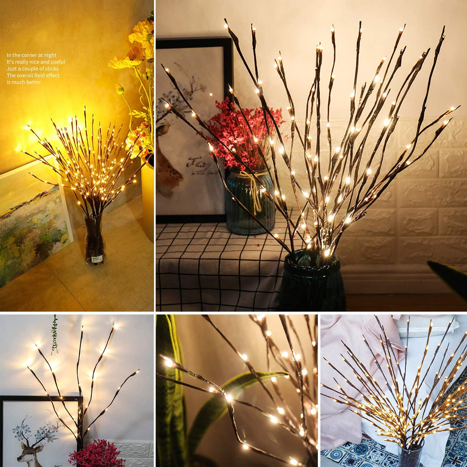 2 Pack Branch Decorative Lights Tall Vase Filler Willow Twig For Home Warm White