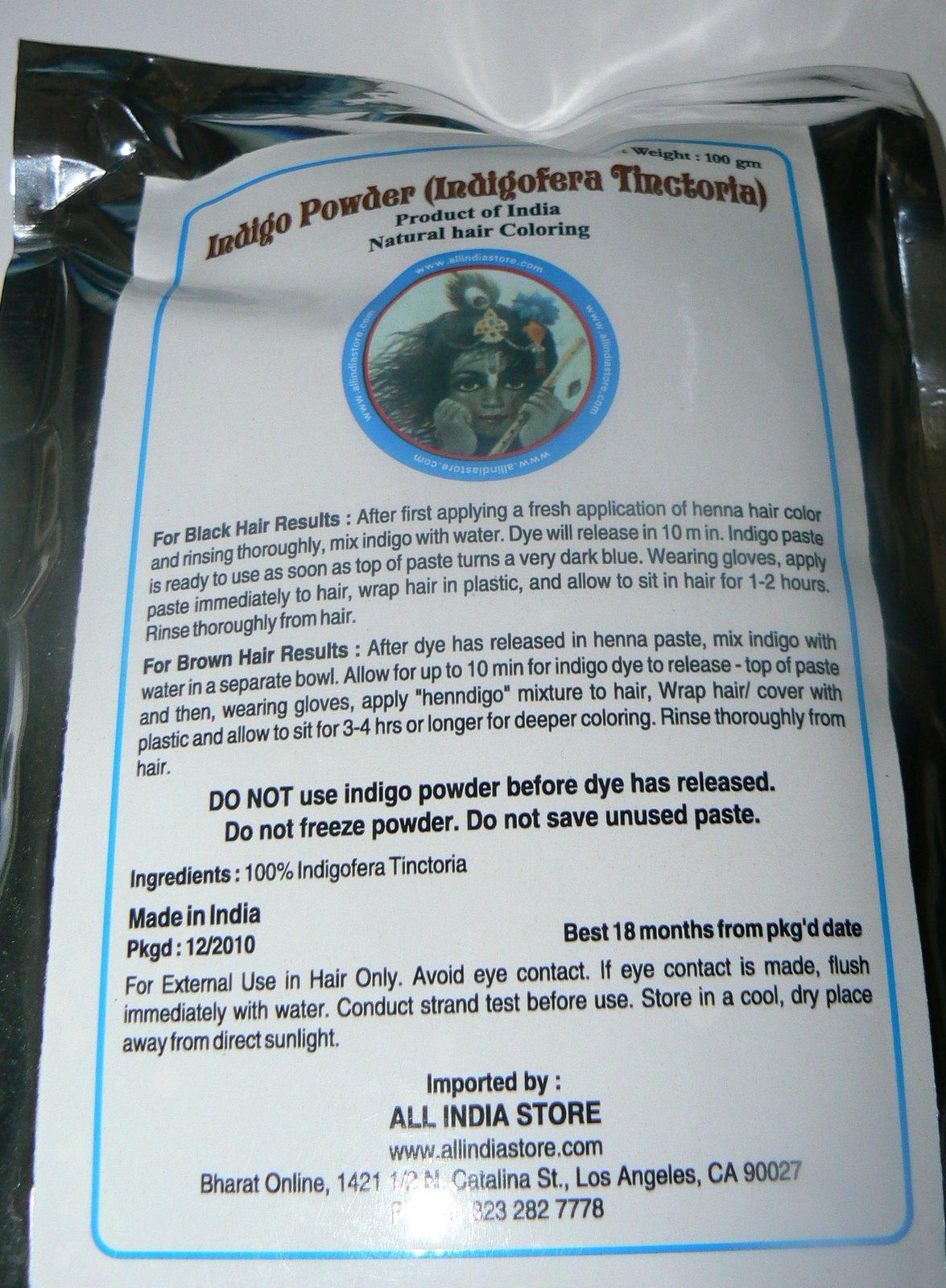Indigo Powder ALL INDIA STORE BRAND 4 x 100 Grams Bags (14 oz total)Indigofera Tinctoria (wasma in Arabic and Urdu) Last Crop - by All India Store (Image #3)