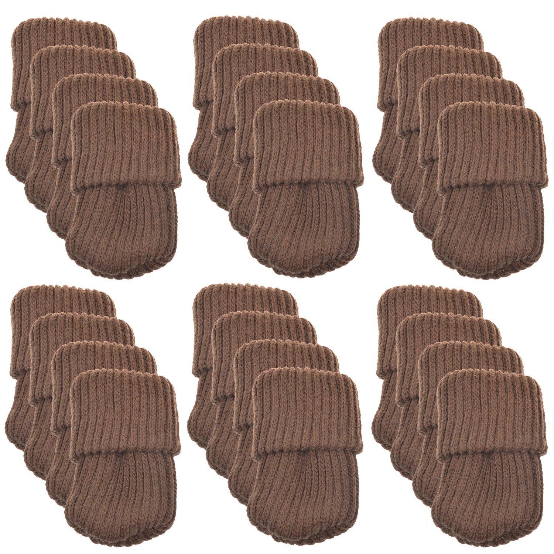 Allure Maek 24pcs Knitting Wool Furniture Socks/ Chair Leg Floor Protector (Brown Color)