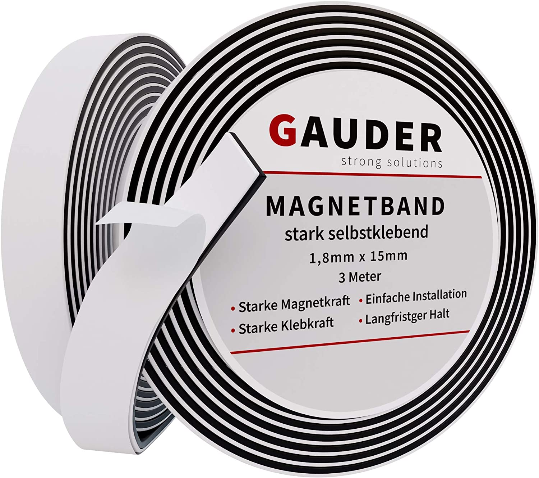 GAUDER Cinta Magnética Autoadhesiva | Banda Imantada con Extra Fuerte Adhesivo | Tira de Imán
