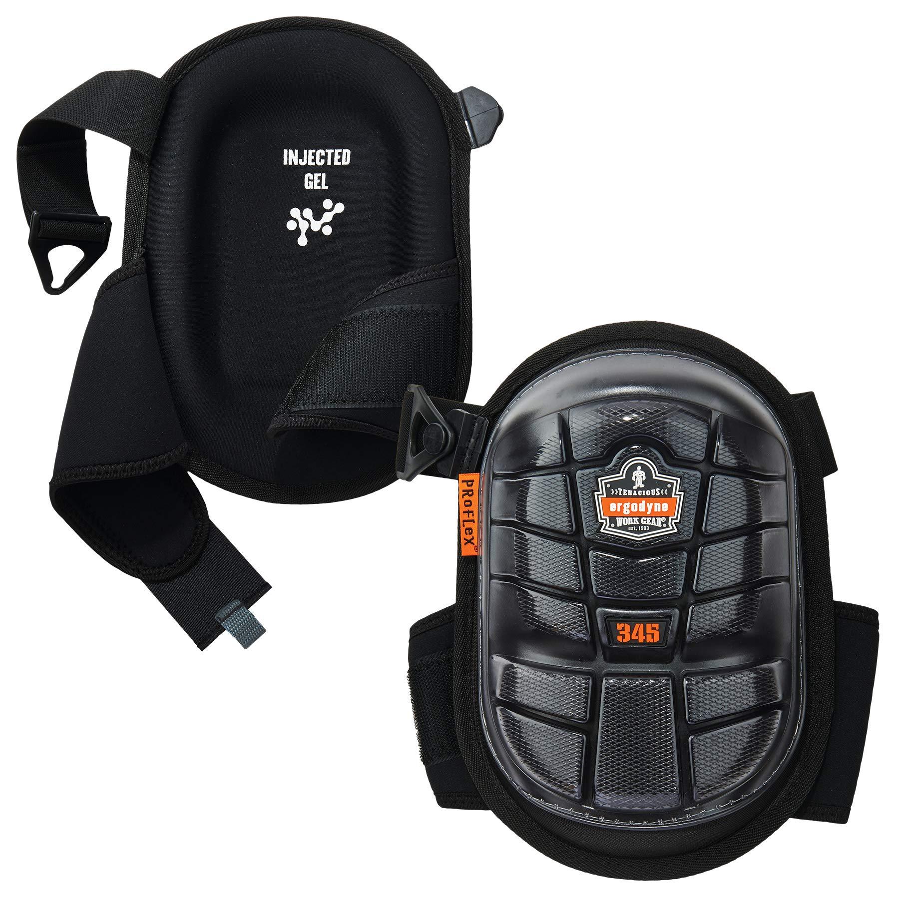 Ergodyne ProFlex 345 Professional Knee Pads, Protective Long Cap, Injected Gel Padded Technology, Adjustable Straps, Black