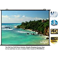 Inlight 120 inches Diagonal (8 Ft. x 6 Ft.), 4:3 Format, UHD-3D-4K Ready Technology Universal Map Type Projector Screen(White)