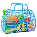 Beach Toy Set: Castle Molds in Reusable Handbasket with 9 pieces of Sand Toys and Sandbox Toys