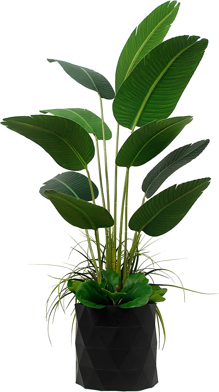 """Deluxe 65"""" Premium Bird of Paradise Travelers Palm Artificial Tree + Fiddle Leaf and Tropical Grass Foliage in 8"""