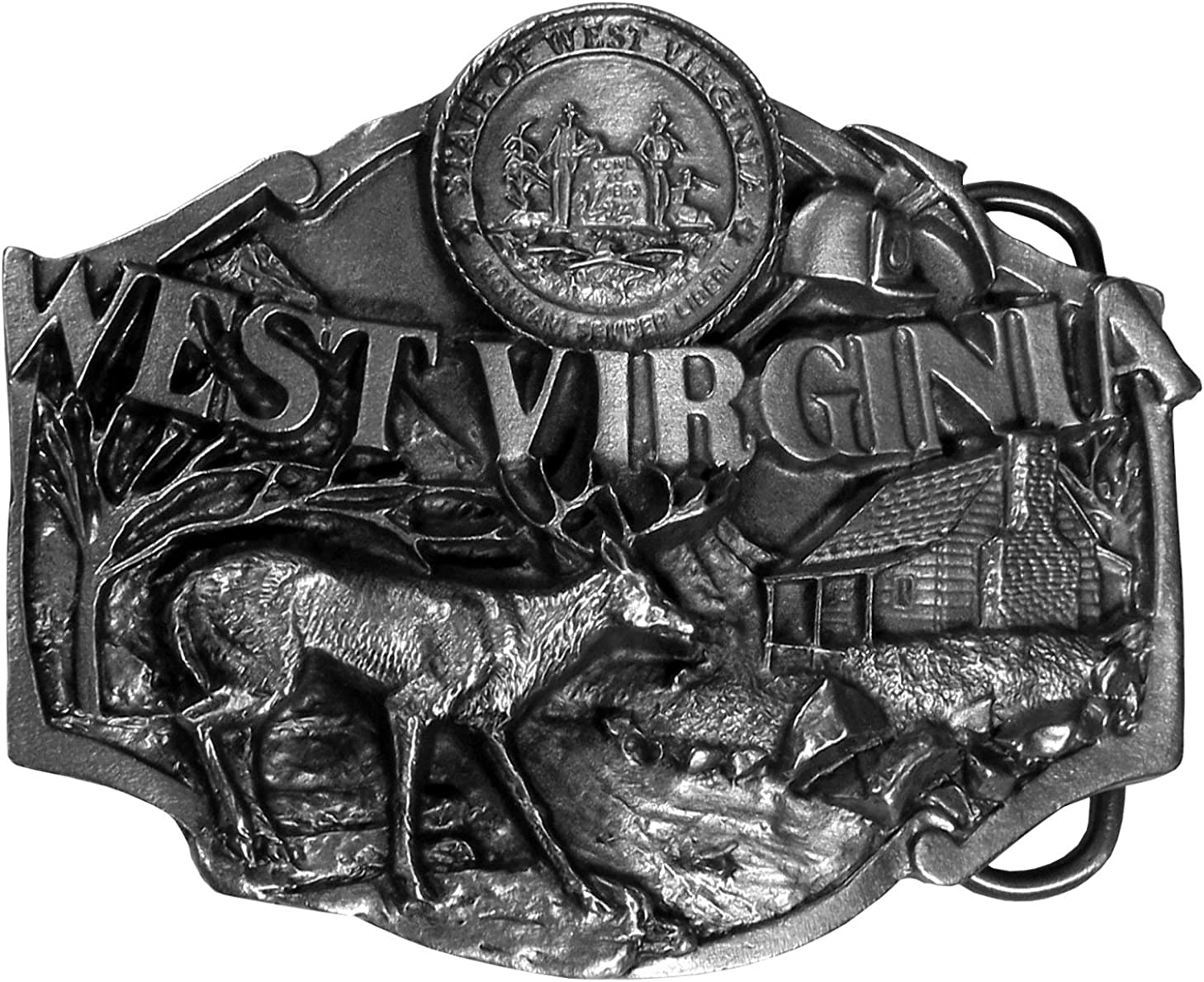 Montana Silversmiths Mens West Virginia State Heritage Attitude Belt Buckle Gold One Size