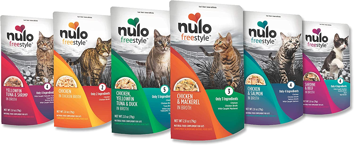 Nulo Freestyle Wet Cat Food, 2.8 oz Pouches, 6 or 24 Count - Natural, Grain-Free Cat Food with High Protein, Amino Acids for Heart Health - Premium Kitten, Senior Soft Food