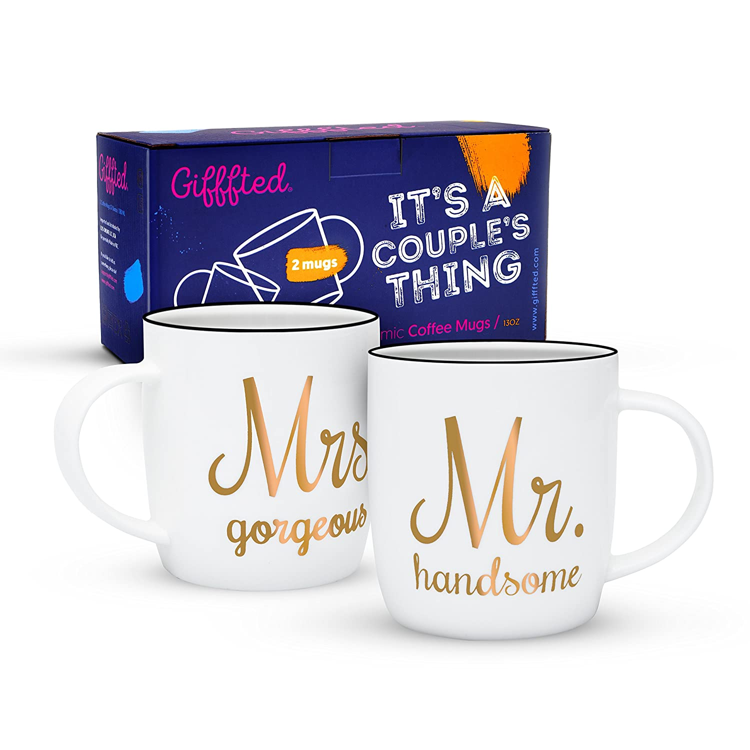 Gifffted Mr Handsome and Mrs Gorgeous Coffee Mugs For Couple, Wedding Anniversary Engagement Gifts For Couples, Bride Groom, Men and Women, Parents, Him and Her, His and Hers, 380 ML, Presents Set of 2 HS mugs for couples