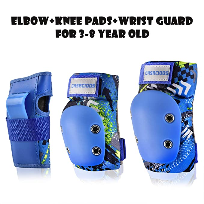GASACIODS Kids/Child Sports Protective Gear,Colorful Shell Fabric Thickened Unzerbrechlich Design,Knee Pads Elbow Pads Wrist Guards Pads Set for Skateboard Inline Roller Skating Scooter Cycling Bike