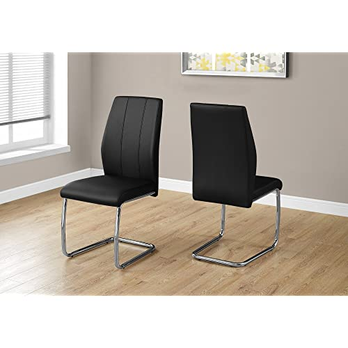 "Monarch Specialties I 1076 2 Piece Dining CHAIR-2PCS/ 39"" H Leather-Look/Chrome, 17.25"" L x 20.25"" D x 38.75"" H, Black"