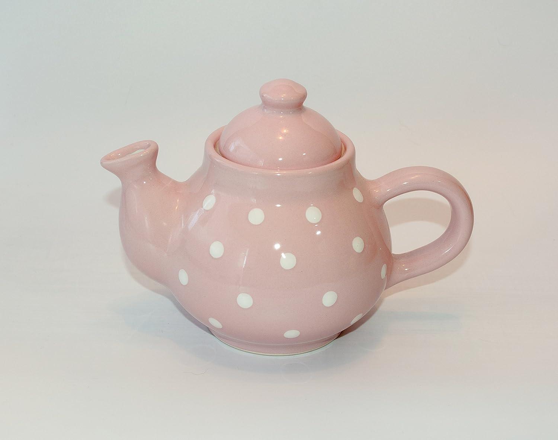 UNGARNIKAT Keramik Kaffeekanne Pastell mit handbemalten Weiß en Punkten 0, 75 L (Hellblau) Garai