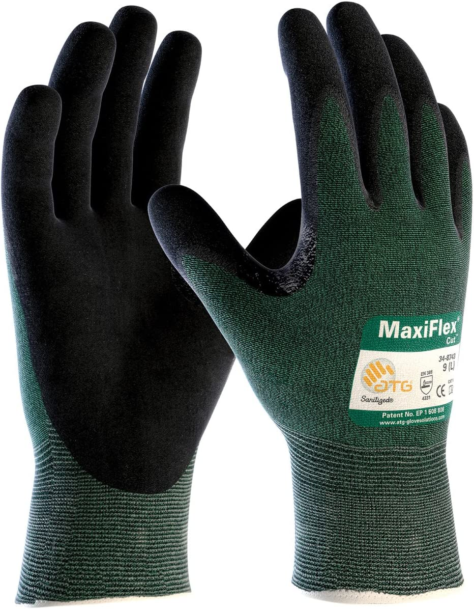 PIP ATG 34-8743/M Medium MaxiFlex Cut, Green Engineered Yarn, Black Gloves, 3-Pack - -