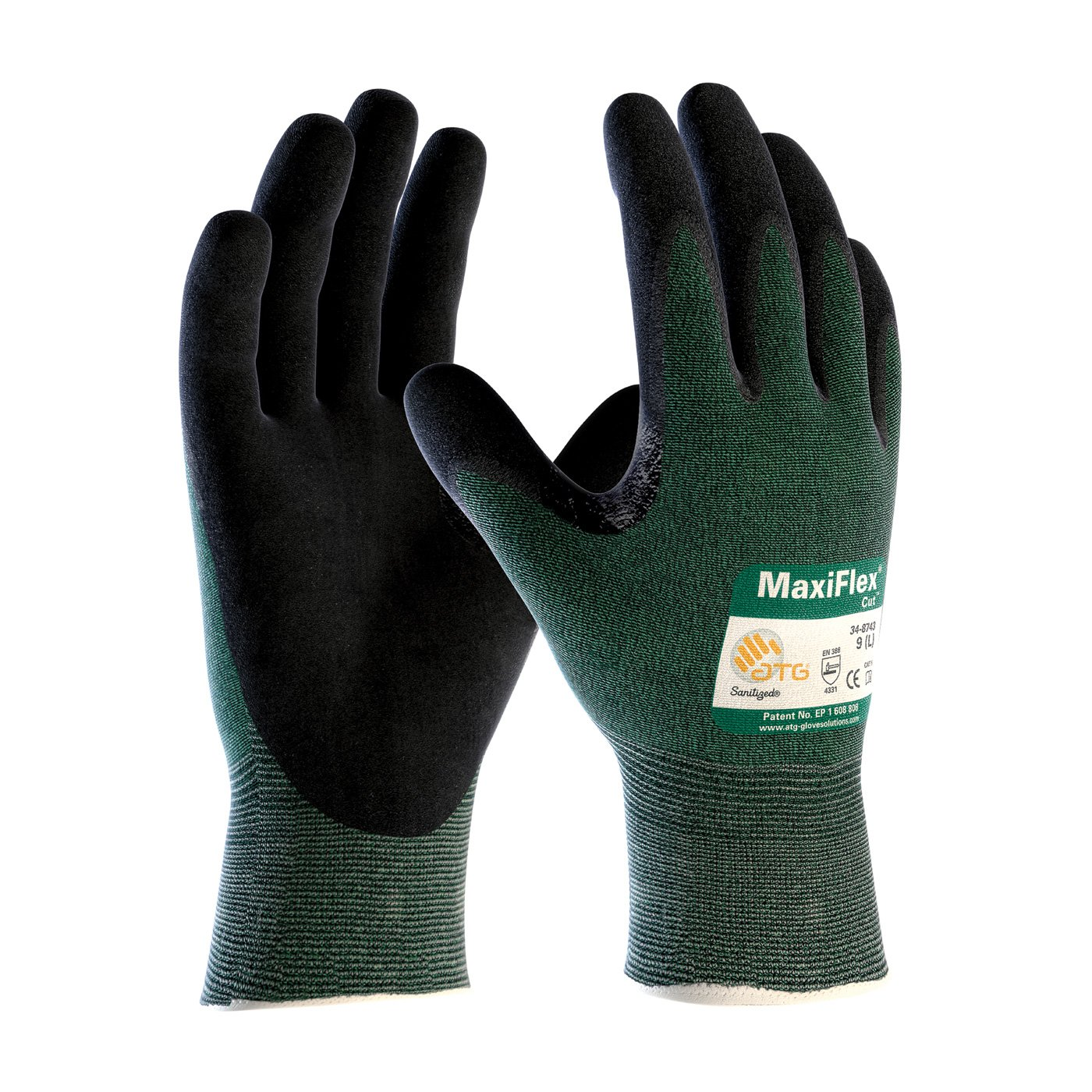 3 Pack MaxiFlex Cut 34-8743 Cut Resistant Nitrile Coated Work Gloves with Green Knit Shell and Premium Nitrile Coated Micro-Foam Grip on Palm & Fingers. Size: Large