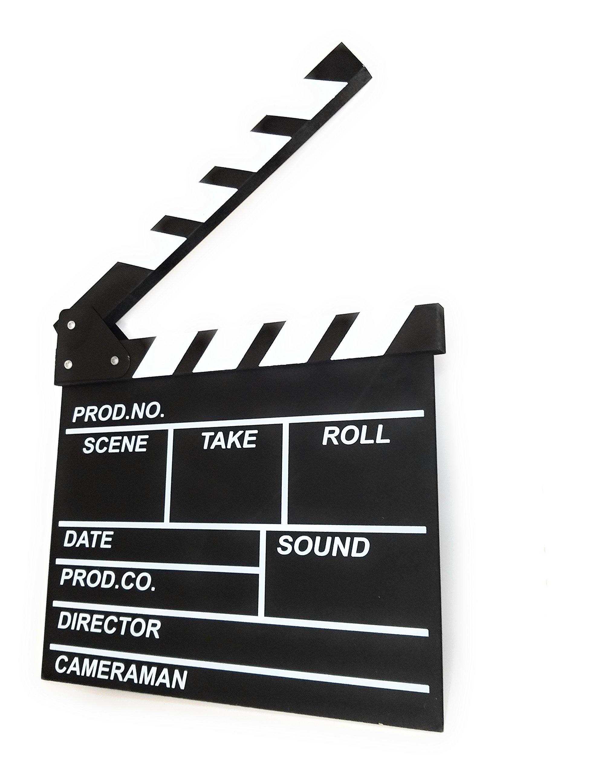 Director's Film Movie Clapper Chalkboard - Professional Vintage Clapper Slate Board - Cut, Action, TV, Movie Clapperboard - (12'' x 11'')