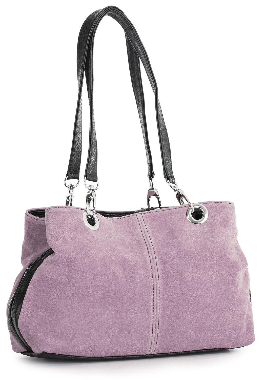 7603ae7e12e3 Big Handbag Shop Womens Small Twin Top Multi Zip Pockets Suede Leather  Shoulder Bag (Beige - Black Trim)