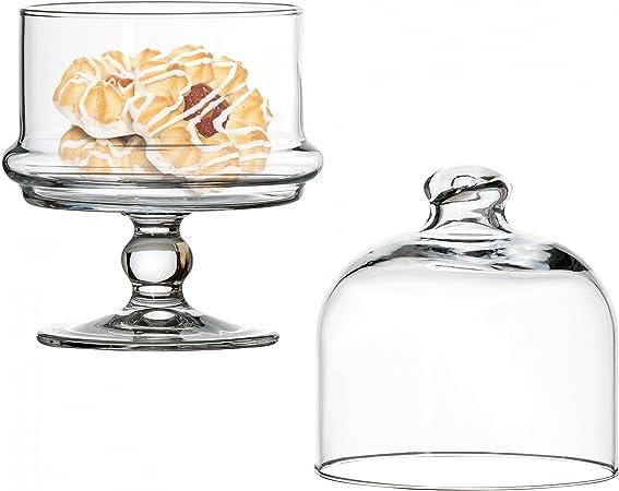 Alzata pasticceria in vetro con campana per dolci e frutta