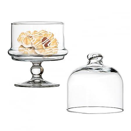 Pasabahce Patisserie Mini de Cristal con campana, pequeño soporte ...